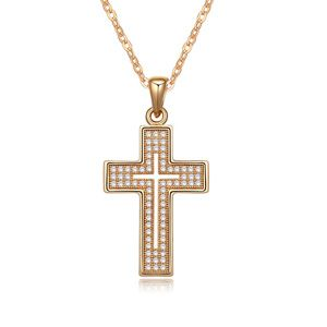 Necklace Micro Pave CZ AAA grade Love Cross (White + champagne) 17222
