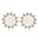 Austrian imitated crystal earrings Sunflower open White 17240