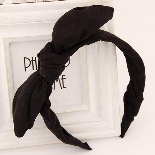 Korean sweet bowkont pure color wide headband ( black ) 218838