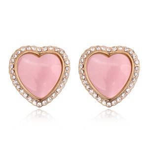 Alloyplated hearts fine opal earrings  Light pink  +  Champagne alloy  18227