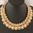 royal blue  Occident fashion metal boast big imitated crystal woven necklace 218972