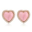 Alloyplated hearts fine opal earrings  Light pink  +  Champagne alloy  18227