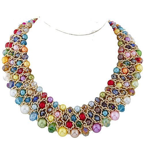 ( multi-color ) Occident fashion metal trendy easy match Beads imitated crystal woven boast necklace ( four-row ) 219291