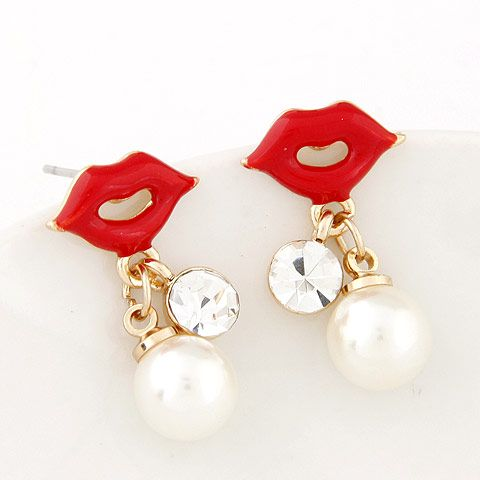 EXQUISITE Sweet unique lips Beads ear studs 219127