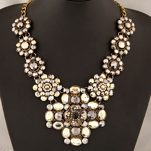 Occident fashion brand trendy easy match pave setting gem cross short necklace ( Champagne ) 219295