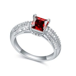 AAAgrade micro inlaid zircon ring  Garnet Red  18152