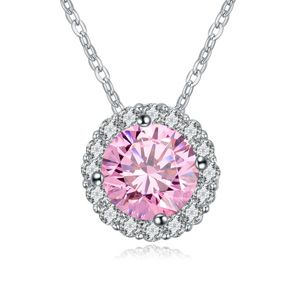 AAAgrade micro inlaid zircon necklace  Pink  18105