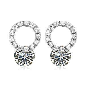 AAA-grade micro inlaid zircon earrings ( White ) 18091