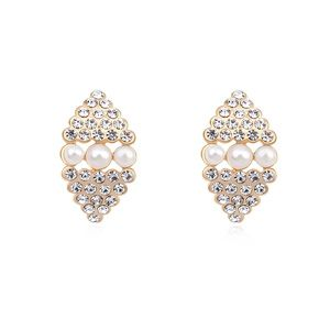 Austria imitated crystal earrings  White + Champagne alloy  17986