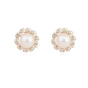 Austria Beads Earring  White + Champagne alloy  17940