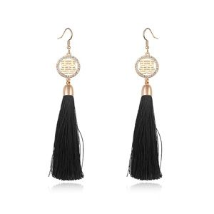 Austria imitated crystal earrings ( Black + Champagne alloy ) 17947