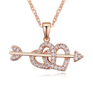 AAAgrade micro inlaid zircon necklace  White + Rose alloy  17716