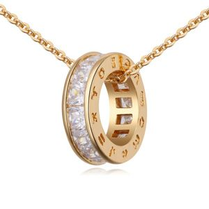 AAA-grade handmade inlaid zircon necklace ( White + Champagne alloy ) 17711