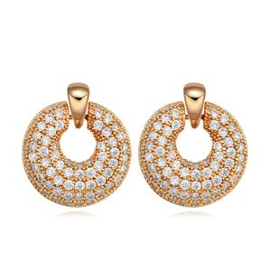 AAA-grade micro inlaid zircon earrings ( White + Champagne alloy ) 17614