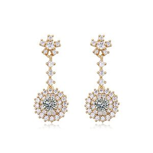 AAAgrade micro inlaid zircon earrings  White + Champagne alloy  17695