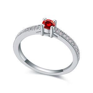 AAAgrade micro inlaid zircon ring  Garnet Red  17688