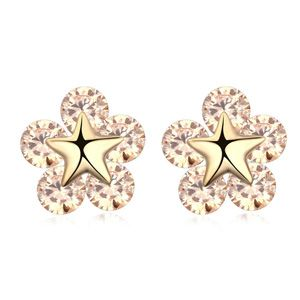 AAAgrade handmade inlaid zircon earrings  Champagne  17577