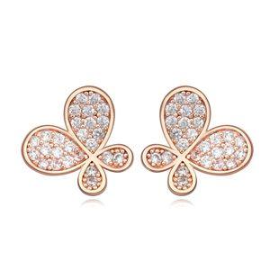 AAA-grade micro inlaid zircon earrings ( White + Rose alloy ) 17429