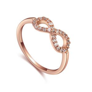 AAA-grade micro inlaid zircon ring ( White + Rose alloy ) 17417