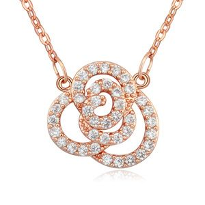 AAA-grade micro inlaid zircon necklace ( White + Rose alloy ) 17412