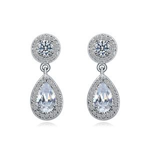 AAAgrade micro inlaid zircon earrings  White  17402
