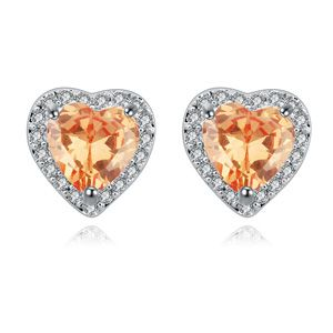 AAA-grade micro inlaid zircon earrings ( Champagne ) 17391