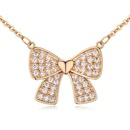 AAAgrade micro inlaid zircon necklace  White + Champagne alloy  18085