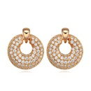 AAAgrade micro inlaid zircon earrings  White + Champagne alloy  17614