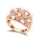 Austria Imitated crystal ring  White + Rose alloy  17526
