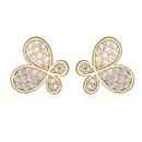 AAAgrade micro inlaid zircon earrings  White + Rose alloy  17429