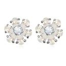 AAAgrade handmade inlaid zircon earrings  White  17379