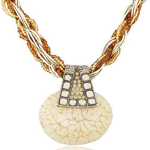 Handmade Bohemian style vintage grace gem necklace  yellow  219542