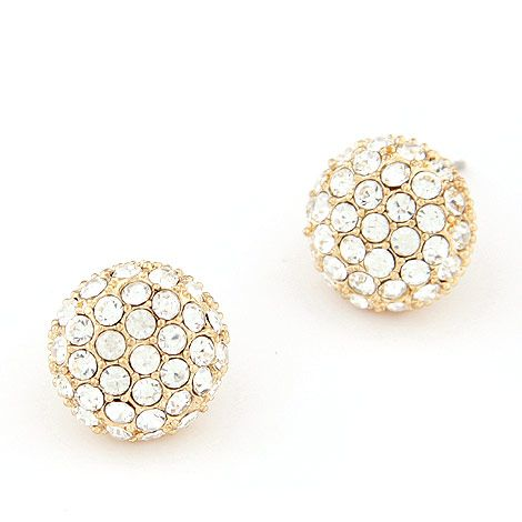 EXQUISITE Sweet gem unique ball ear studs  white  219354