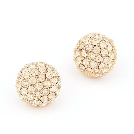 EXQUISITE Sweet gem unique ball ear studs  Champagne  219353