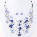 Delicate easy match Bohemian style imitated crystal multilayer necklace earrings set  blue  219381