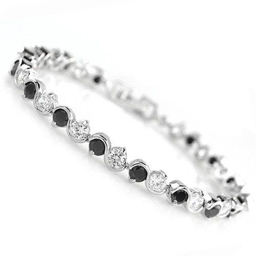Brass white alloy shining Sshaped letters Cubic Zirconia unique bracelet  black  219327