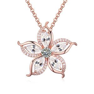 AAAgrade zircon necklace  White + Rose alloy  18687