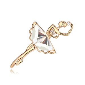 Alloy how she move boutique brooch  White + Champagne alloy  18661