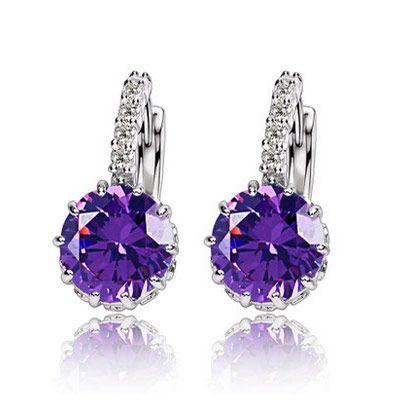( purple ) EXQUISITE concise Cubic Zirconia earrings ( allergy free ) 219597