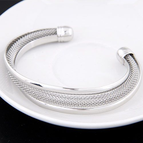 EXQUISITE Occident fashion easy match wovven concise cuff bangle  alloy  219750