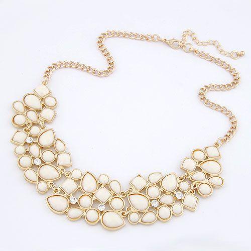 Occident fashion luxury small gem and irregular crescent shape short necklace 214219