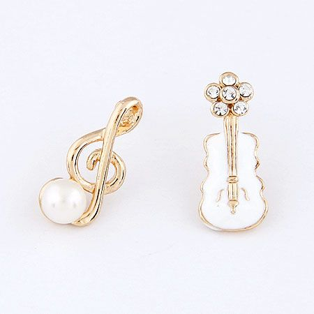 Unique the music note and guitar asymmetry ear studs ( white ) 214074