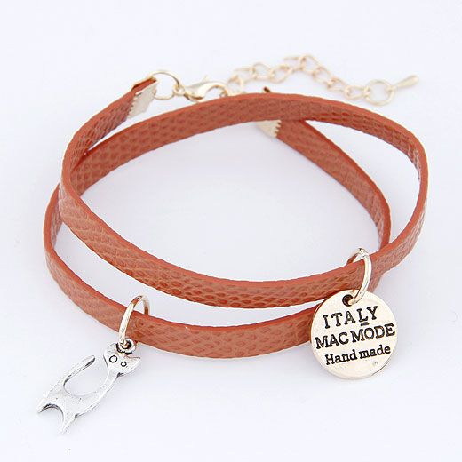 Easy match pretty cat pendant and round letter disk easy match leather weave double layer bracelet ( dark red ) 214029