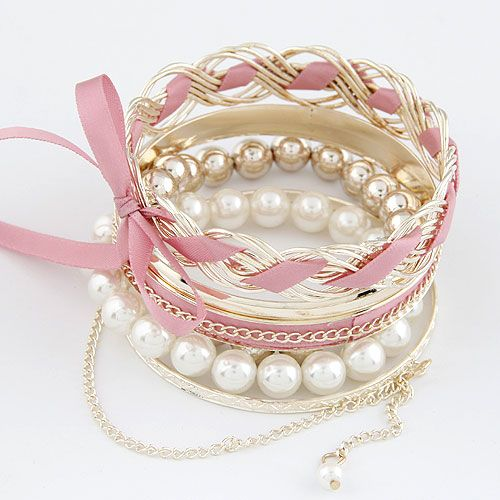 Sweet pink bowknot Beads multilayer bangle 213889