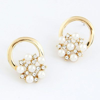 EXQUISITE Sweet Concise flower Beads ear studs 213717