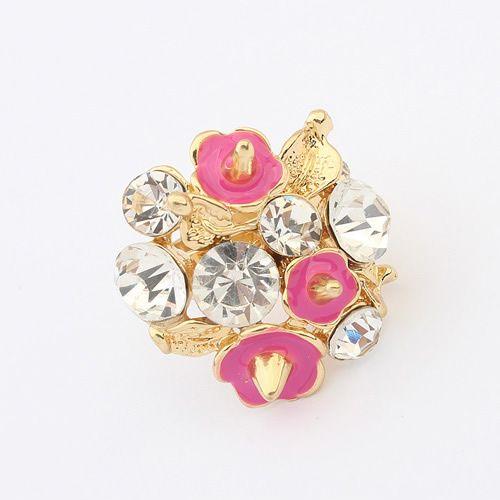 Vintage punk sweet gem embedded small flowers finger ring ( rose ) 7100082