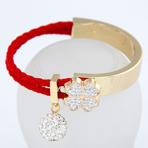 Czech imitated crystal + red  EXQUISITE Sweet gem ball fourleaf clover easy match bangle 213460