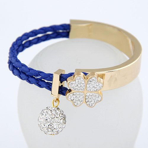 Czech imitated crystal + blue  EXQUISITE Sweet gem ball fourleaf clover easy match bangle 213461