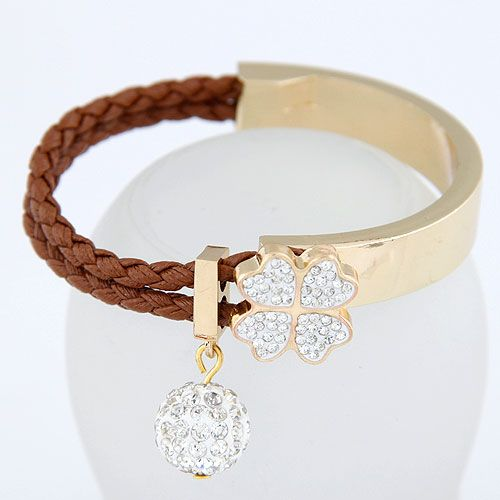 Czech imitated crystal + coffee  EXQUISITE Sweet gem ball fourleaf clover easy match bangle 213462