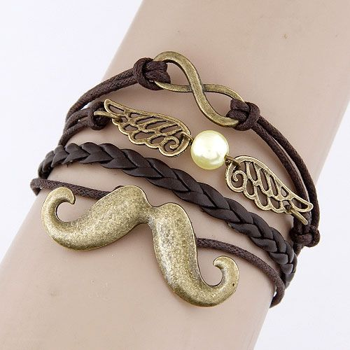 Classic creative beard wing and 8 letters combination alloy accessory handmade multi-layer weave bracelet 213402